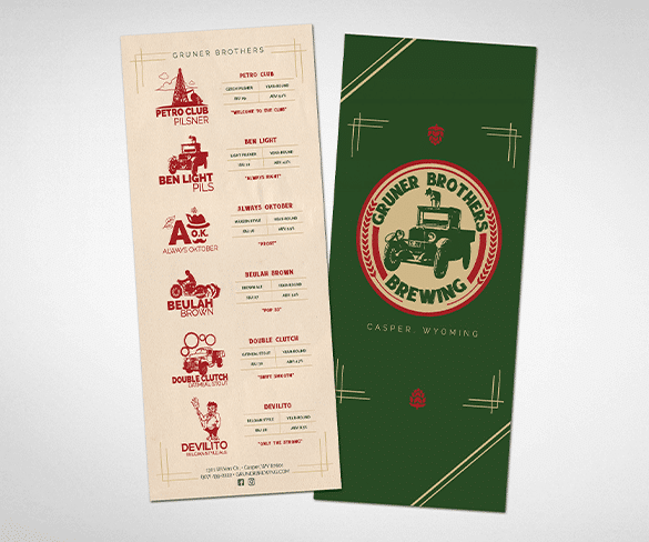 Gruner Brothers Brewing Menu