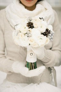 Beautiful Brides Dress, Sweater, gloves and Bouquet