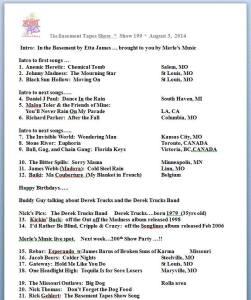 Show #199 playlist