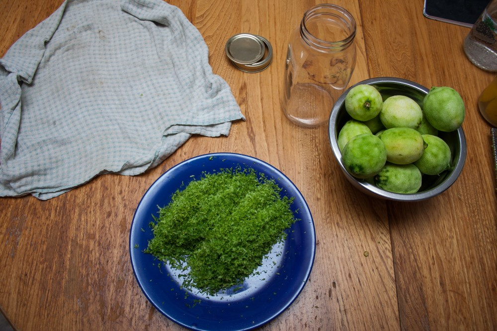 A photo of a plate with the zest of fifteen limes on it, and a bowl of limes with no zest left.