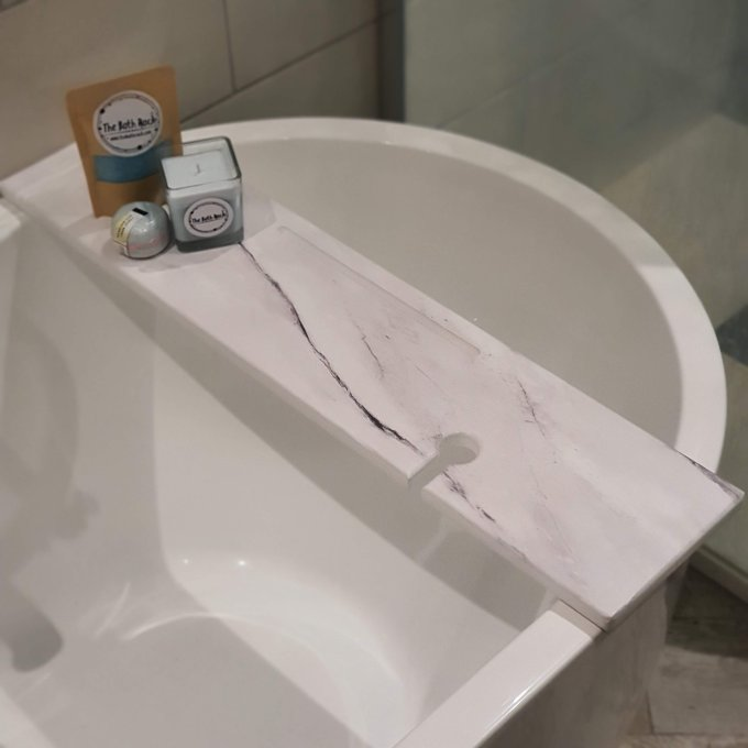 Carrara Marble Print Wooden Bath Tray Rack Caddy with Tablet Slot And Wine Glass Holder