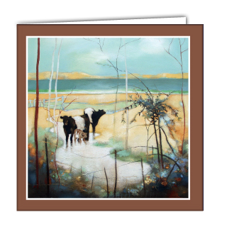 Wading in the Burn Art Card by Lesley McLaren