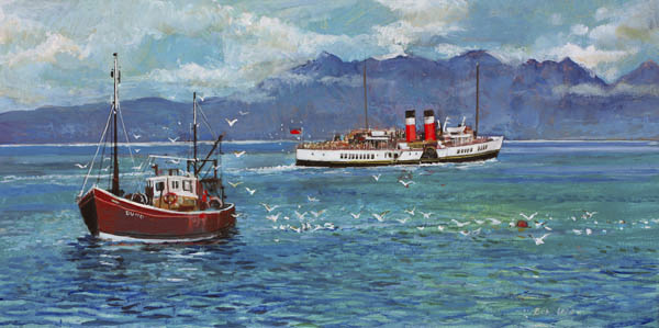 The Waverely and Fishing Boat by Bob Lees