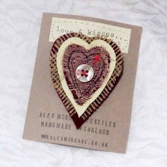 Heart Textile Brooch - Alex McQuade