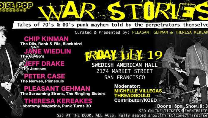 'Punk Rock Storytelling: War Stories' comes to Swedish American Hall next week