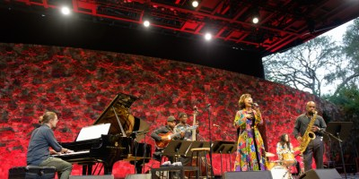 Marcus Shelby Quartet with Tiffany Austin at the Frost Amphitheater, by Jon Bauer