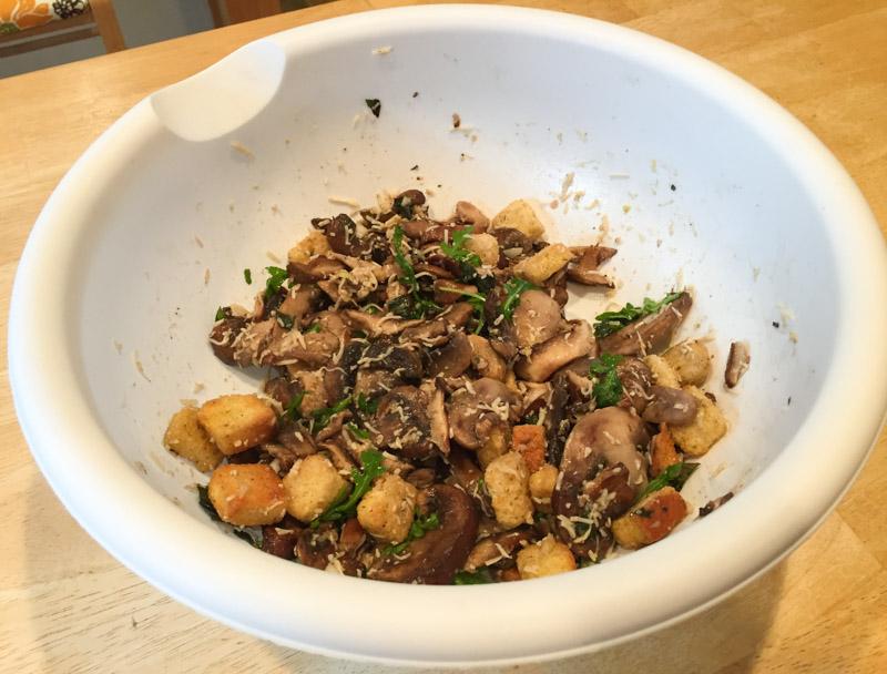 Mushroom Panzanella and Prosciutto Stuffed Pork Tenderloin