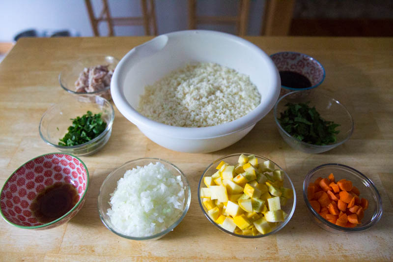 "Prep the cauliflower ""fried rice"" ingredients"
