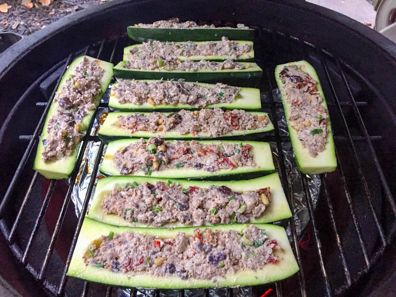 Big Green Egg Stuffed Zucchini
