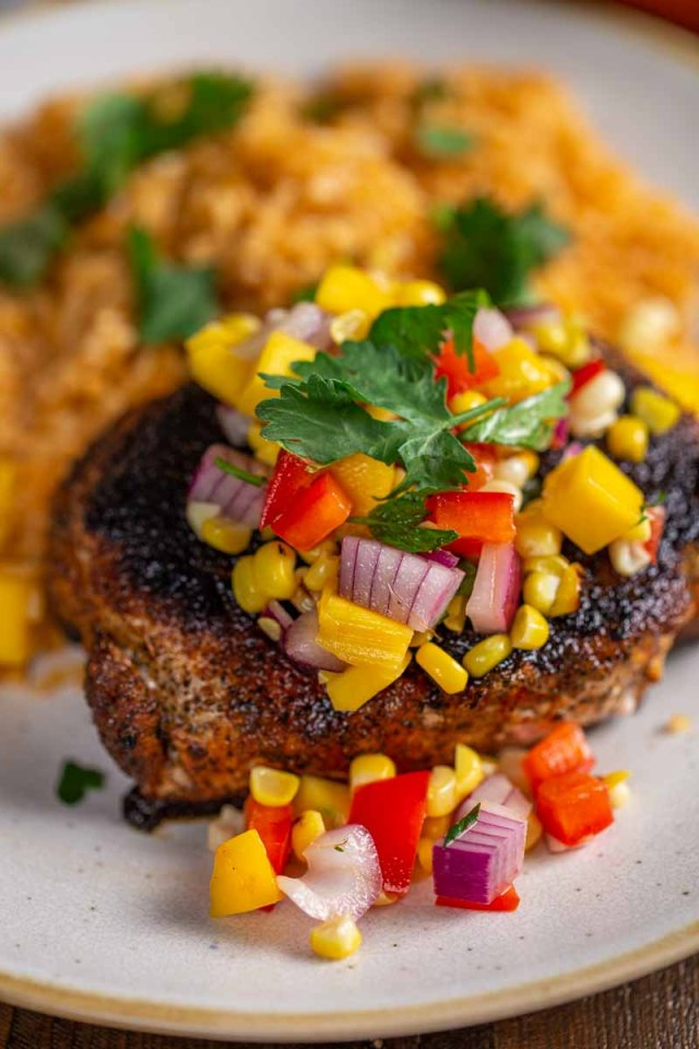 Twist'd Q Blackened Pork Chops with Mango Salsa