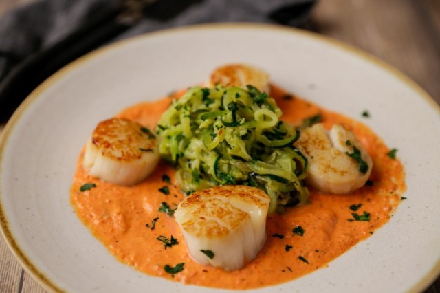 Sea Scallops Over Roasted Red Pepper Sauce -- scallop recipes
