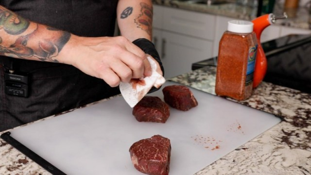 Clean the Wagyu Filet Mignon with paper towel
