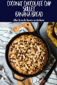 Coconut Chocolate Chip Skillet Banana Bread