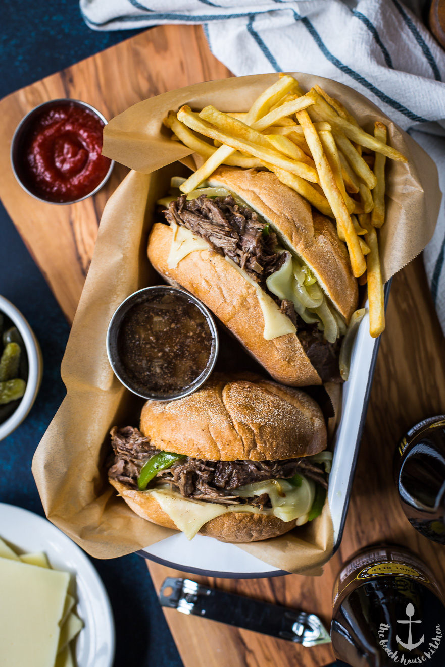 Philly French Dip Sandwiches with Peppers, Onions and Cheese