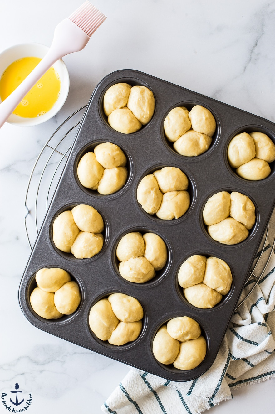 Bubble-Top Brioche Roll dough in a muffin pan