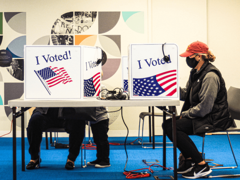 The conference room at The Whole Person was transformed into an absentee voting location after the launch of their new program that provides voting services to people with disabilities in Kansas City. (Zachary Linhares/The Beacon)