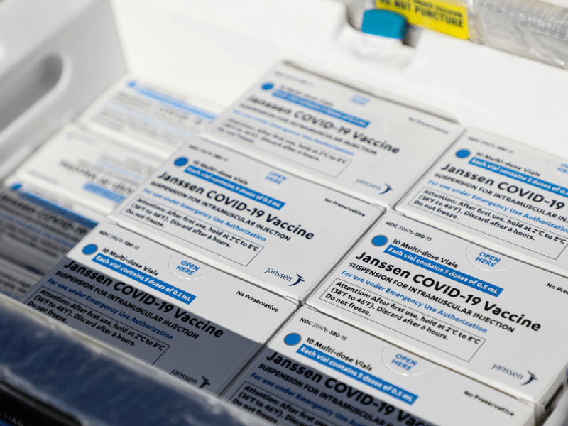 Boxes containing doses of the Johnson & Johnson vaccine