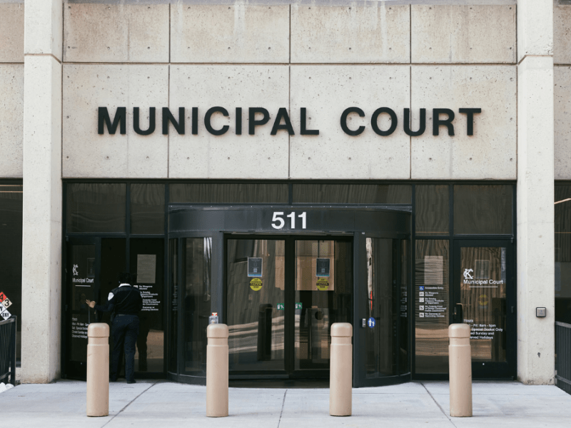 An image of the front of the Kansas City Municipal Court building.