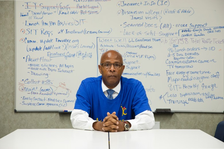 Major Stevie Brooks, director of admissions and enrollment at Kansas City Public Schools, sits in a conference room at Manual Career and Technical Center during a district enrollment fair July 28 in Kansas City.