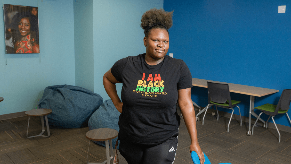 The African American Student Union President Brandy Williams is pictured in the Multicultural Student Affairs Office Sept. 24 on the University of Missouri-Kansas City campus.