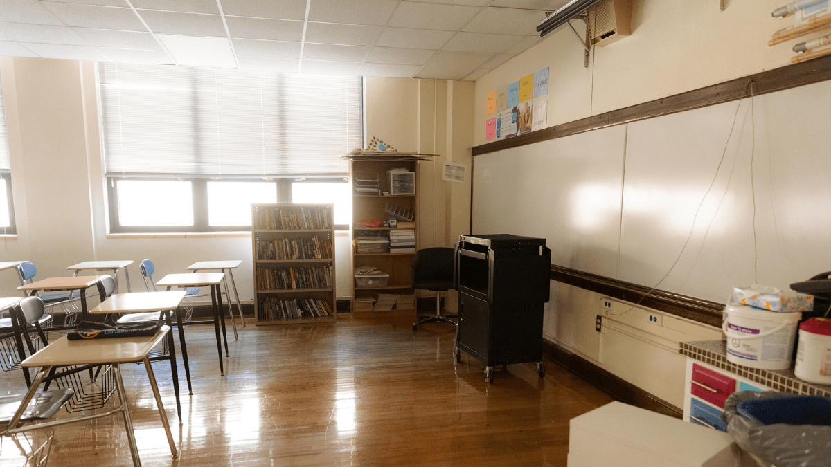 An empty classroom at Sumner Academy of Arts and Science on July 29, 2021, in Kansas City, Kansas.