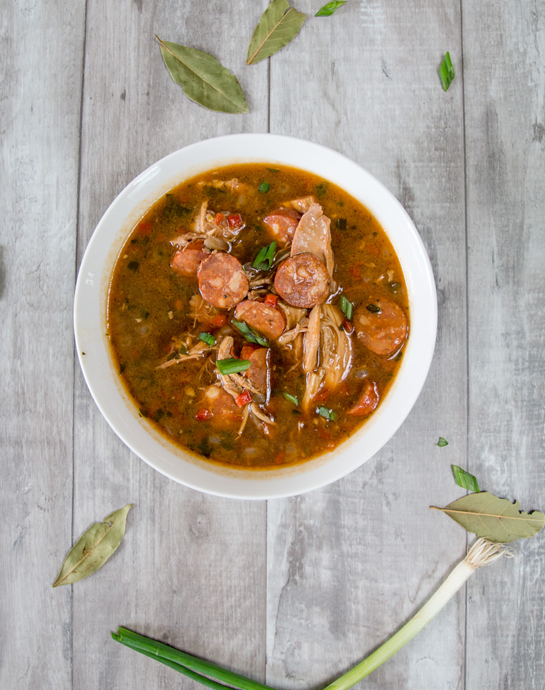 Delicious chicken and sausage gumbo anyone can make. It all starts with a flawless oven roux and ends with chicken and sausage gumbo goodness!