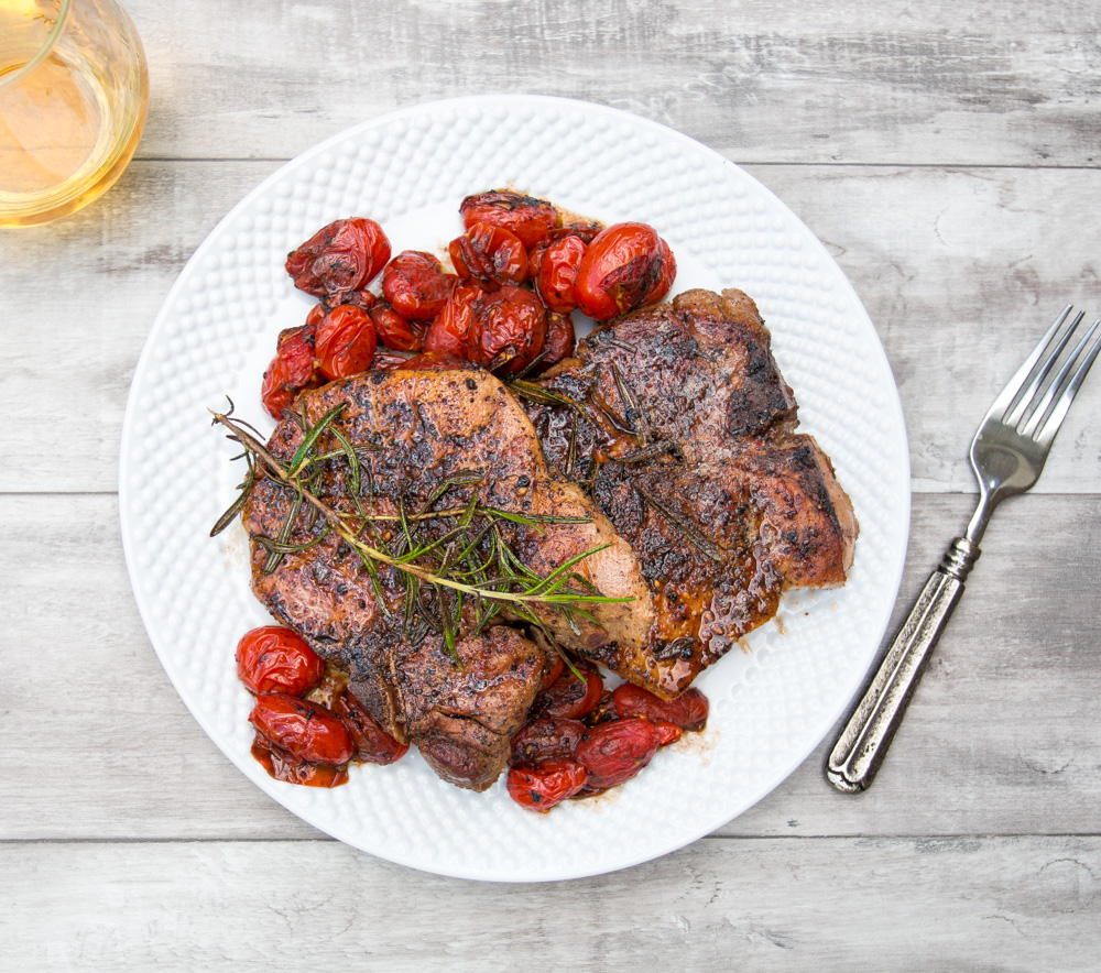 Sous Vide Pork Chops with Blistered Tomatoes