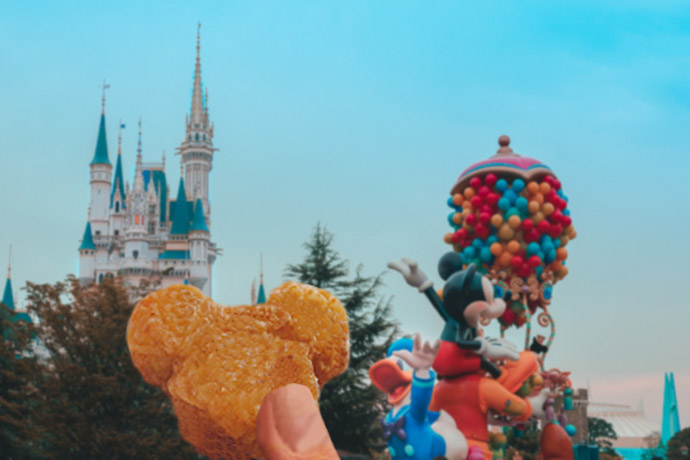 Pictured: Mickey Chicken Nugget held up in front of Disneyland castle and the daytime parade, including a float featuring Mickey and Donald