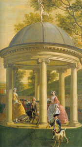painting of a domed garden folly