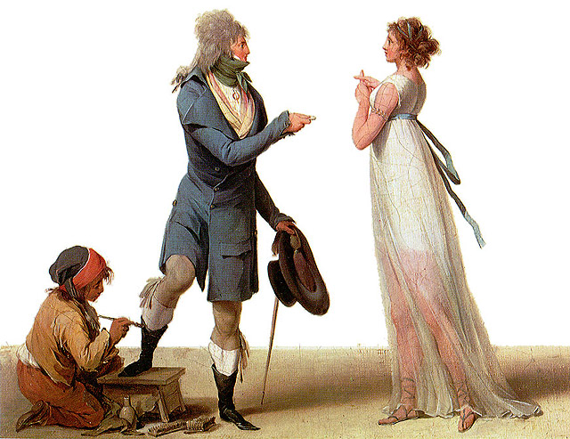 A man having his boots blacked while offering a coin to a courtesan