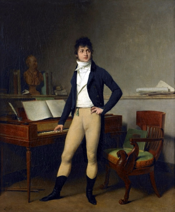 Portrait of a man standing at a square piano