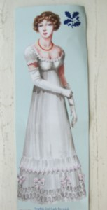 Drawing of Sophia Dubochet in a white gown