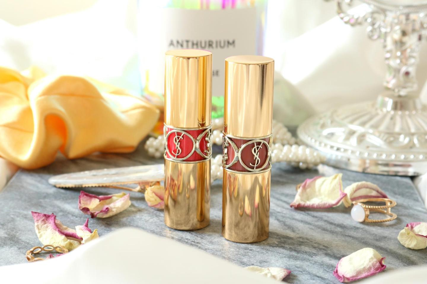 the colors 45 and 87 Rouge Voluptés Shine Oil-in-Stick