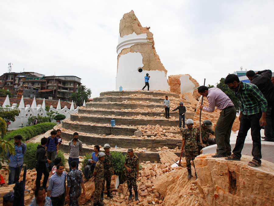 Dharahara Tower in Kathmandu after the earthquake.