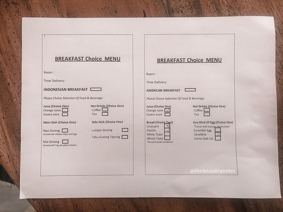 Breakfast menu at Blackbird Hotel.