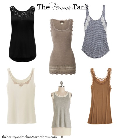 basic tank or tee with feminine details like lace, bows & rouching