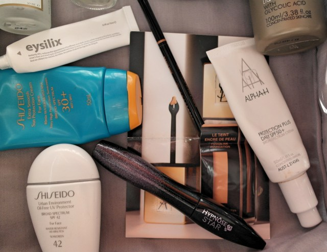 Shiseido Sunscreens, Alpha-H Sunscreen, Lancome Mascara, Anastasia Beverly Hills Brow Wiz & YSL Fusion Ink
