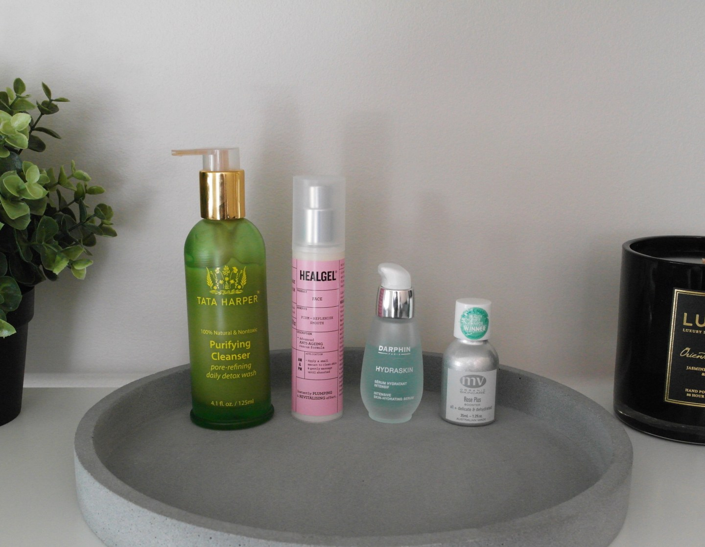 Tata Harper Purifying Cleanser, Heal Gel Face, Darphin Hydraskin Serum, MV Organics Rose Plus Booster