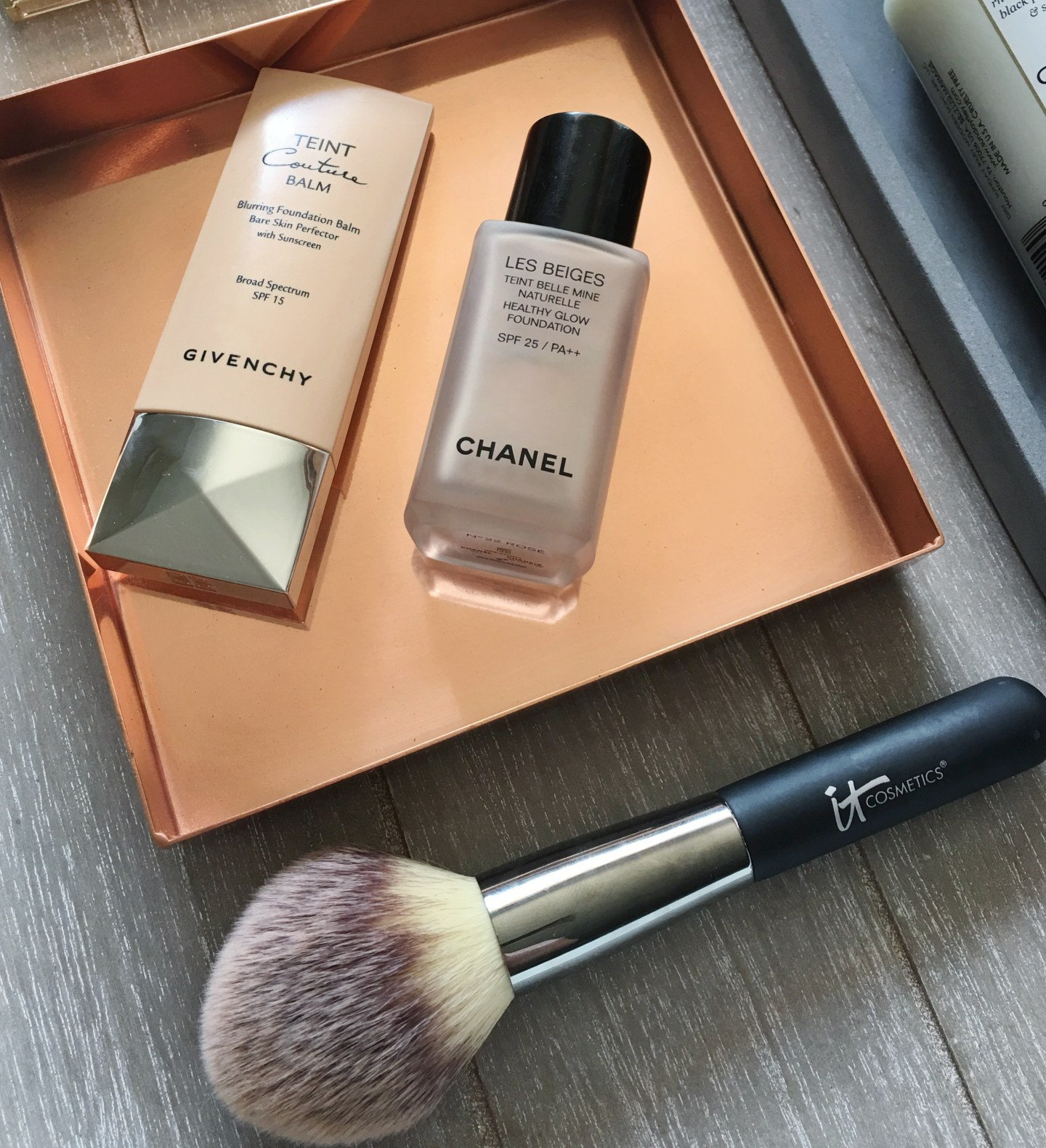 Givenchy Teint Couture Balm, Chanel Les Beiges Foundation, It Cosmetics Brush