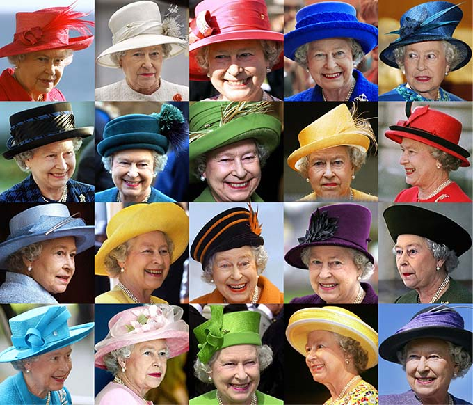 London, UNITED KINGDOM: Combo picture of various portraits of Britain's Queen Elizabeth II wearing hat on different occasions and dates. Royal protocol decrees that Her Majesty always wears a hat in public, while her face must be visible at all times. (AFP/AFP/Getty Images)