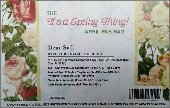 April Fab bag 2016 Card