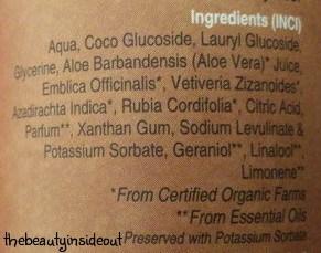 Soultree Wild Aamla Aloe Rejuvenating Manjistha Shower Gel Ingredients