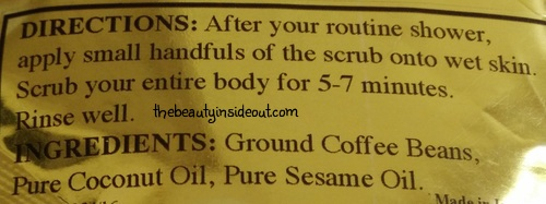 Skin Yoga Coffee Body Scrub Usage and Ingredients