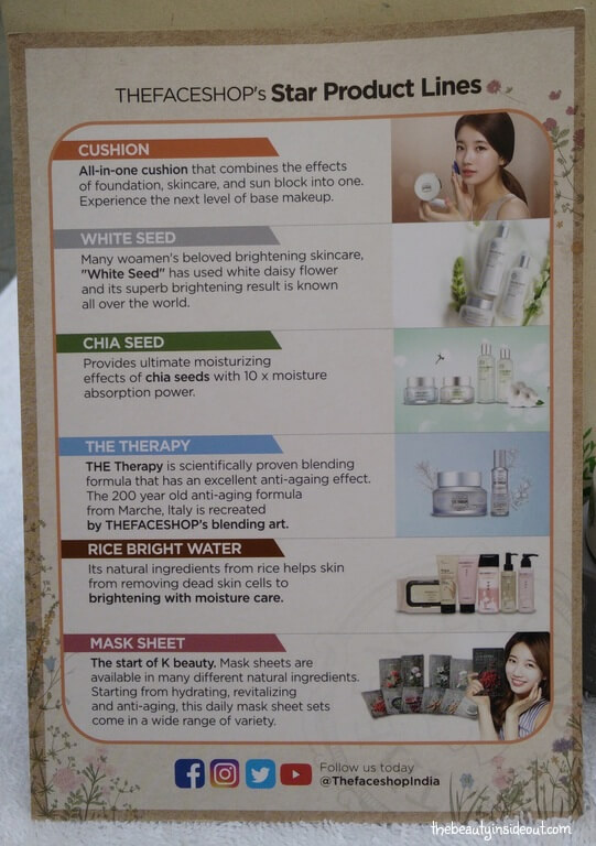 The Face Shop Experience Kit Product Lines