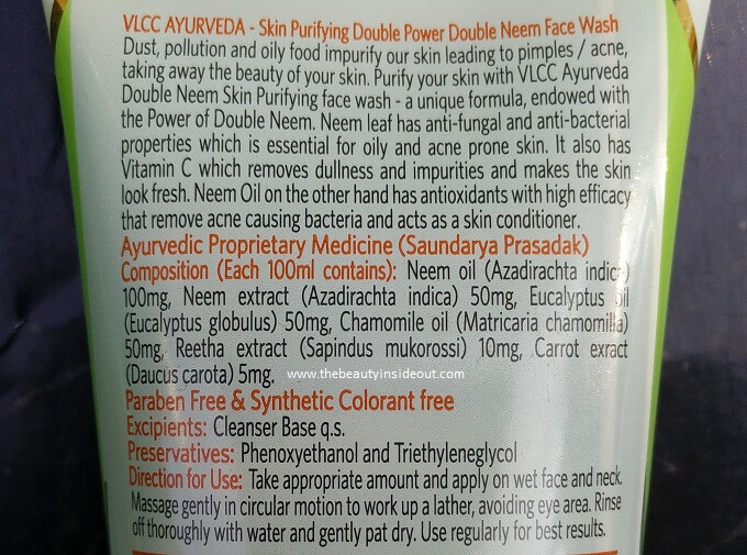 VLCC Ayurveda Skin Purifying Double Power Double Neem Face Wash Ingredients