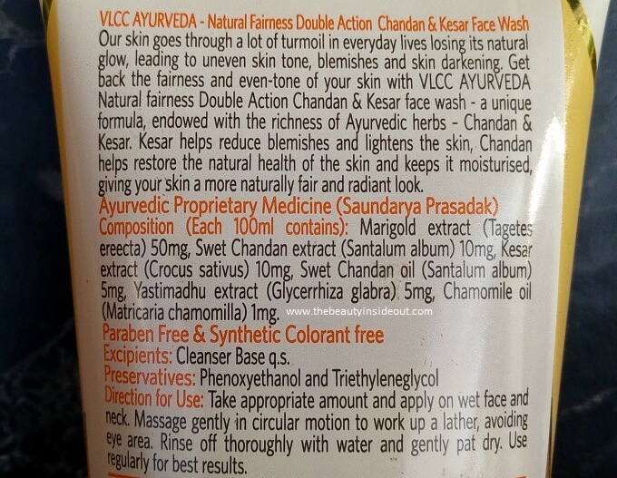 VLCC Ayurveda Natural Fairness Double Action Chandan & Kesar Face Wash Ingredients
