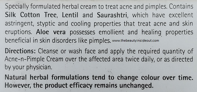 Himalaya Acne-n-Pimple Cream Description Claims