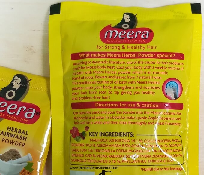 Meera Herbal Hairwash Powder Ingredients