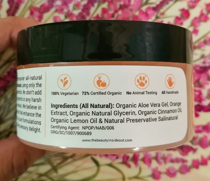 Naturma Hydrating Cinnamon & Orange Gel Ingredients