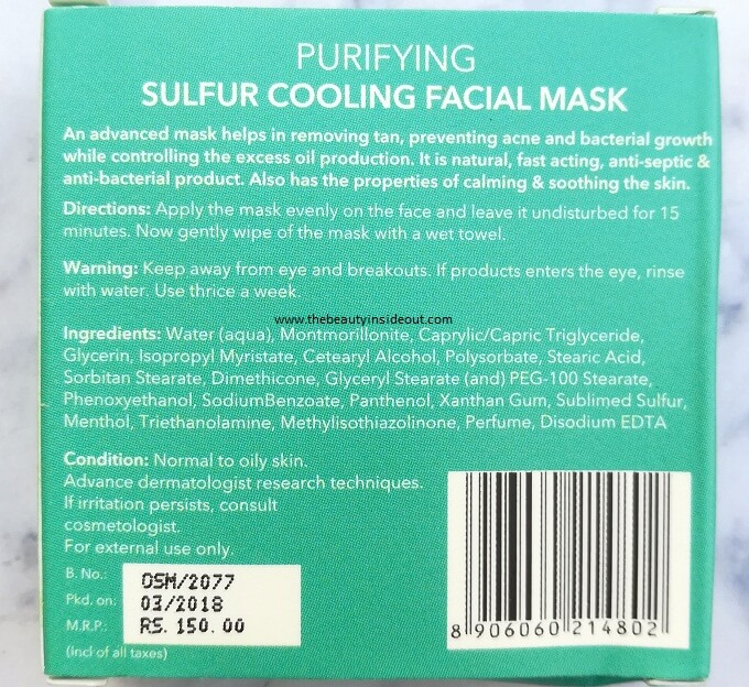 O3 Sulfur Cooling Mask Ingredients